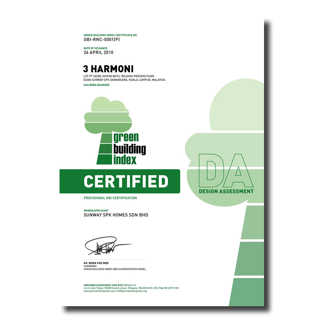 Green Building Index (GBI) Assessment | 3 Harmoni Town House