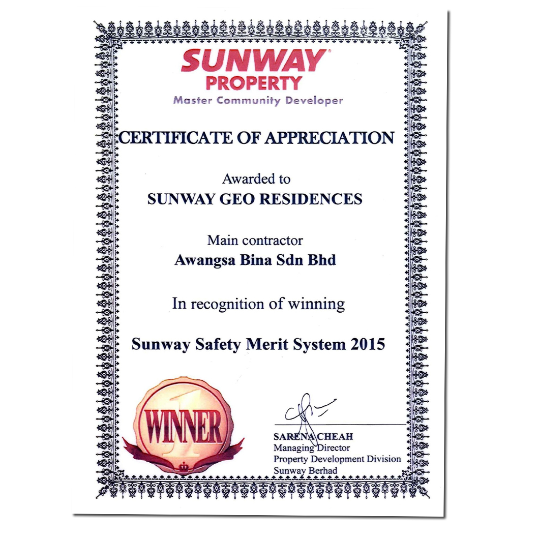 SUNWAY SAFETY MERIT SYSTEM | SUNWAY GEO RECIDENCES 2015