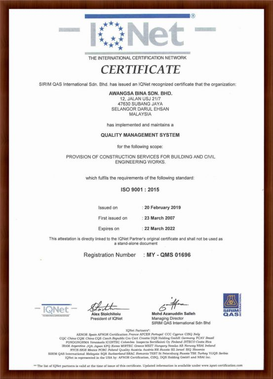 IQNET ISO 9001 : 2015