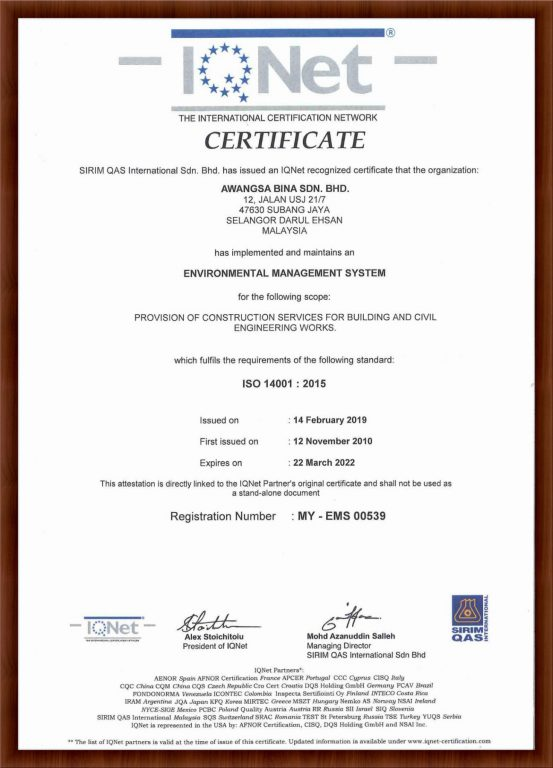 IQNET ISO 14001 : 2015