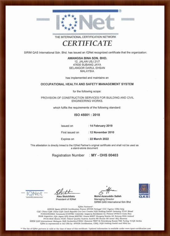 IQNET ISO 45001 : 2018